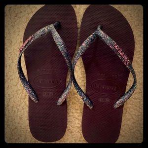 Sparkly flip flops great condition worn twice